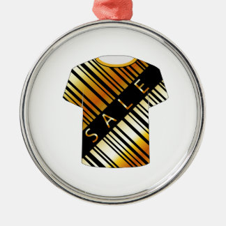 T Shirt Template- Sale bar code Round Metal Christmas Ornament