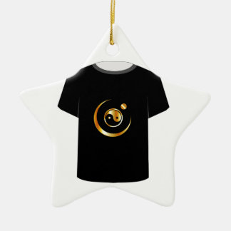 T Shirt Template- yin yang symbol Double-Sided Star Ceramic Christmas Ornament