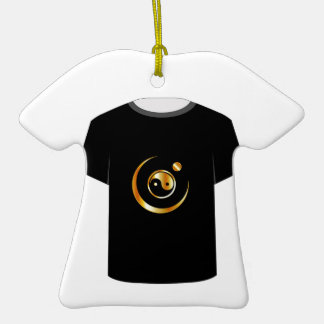 T Shirt Template- yin yang symbol Double-Sided T-Shirt Ceramic Christmas Ornament