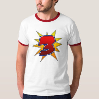 T-Shirt, The Number Three, Red with Yellow Burst T-Shirt