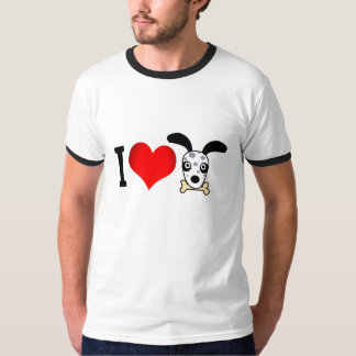T-shirt to ringer print I love dogs