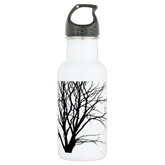 t-shirt tree silhouette winter shadow baum stainless steel water bottle