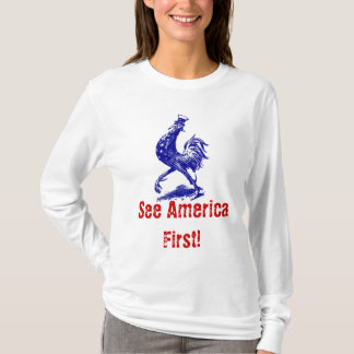 T-Shirt vntg See America First Uncle Sam Rooster
