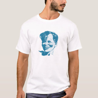 T-shirt wit cool happy nerd face print in blue
