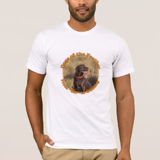 T-shirt with Chocolate Lab and quote.