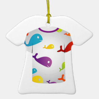 T Shirt  with colorful fishes Ornament