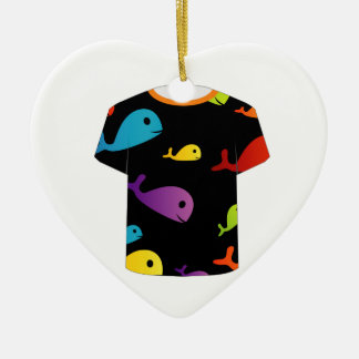 T Shirt with colorful fishes Christmas Ornament