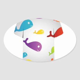 T Shirt  with colorful fishes Oval Sticker