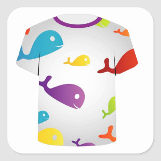 T Shirt  with colorful fishes Square Sticker