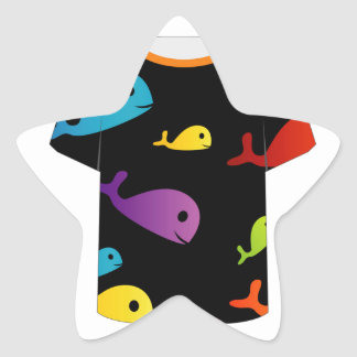 T Shirt with colorful fishes Star Sticker