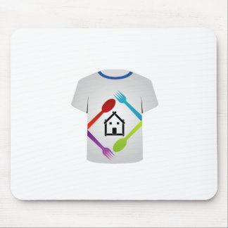 T Shirt with colorful spoons and forks Mousepad