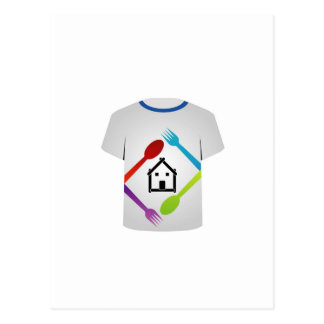 T Shirt with colorful spoons and forks Postcard