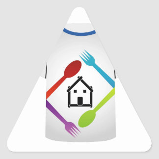 T Shirt with colorful spoons and forks Triangle Sticker