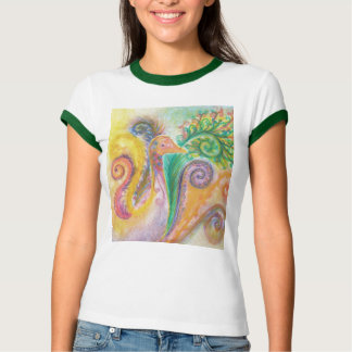 T-shirt with Colourful Swirly Bird Design