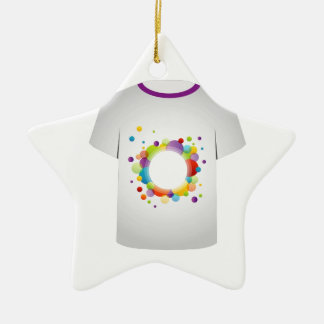 T Shirt with fractal circles Christmas Ornament