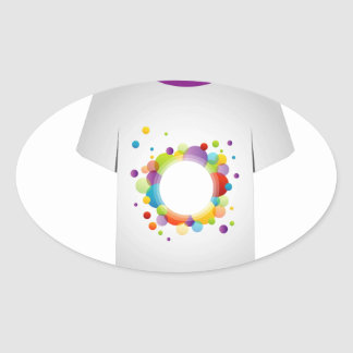 T Shirt with fractal circles Oval Sticker