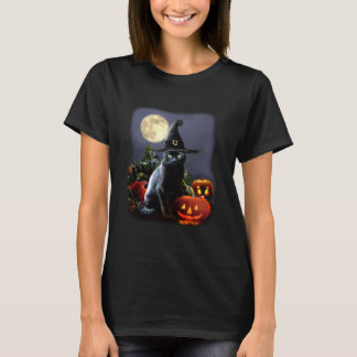 T-shirt with Halloween Cat and Pumpkins