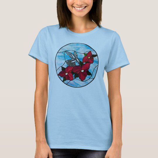 T-Shirt with Hummingbird and Flowers