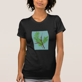 T-Shirt with Leaves and Twigs Nature Art
