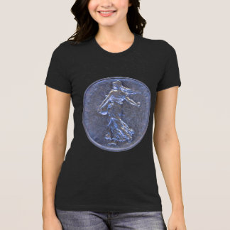 T-Shirt with Photos of a French Coin 5 Francs 1962
