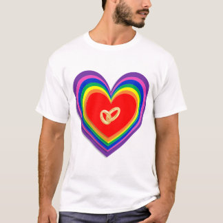 T-Shirt With Rainbow Hearts and 2 Wedding Rings