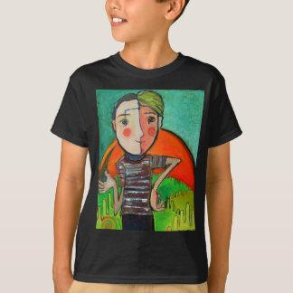 "T-shirt with stylized ""boy genius"" image."