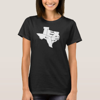 T-Shirt with Texas State Map White Lettering