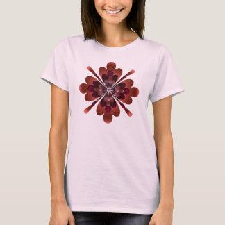 T-Shirt, Zen Flower, Dark Peach, Maroon, Pink T-Shirt