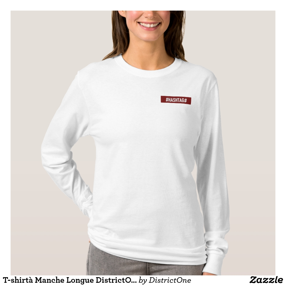 T-shirtà Manche Longue DistrictOne Femme Blanc T-Shirt - Best Selling Long-Sleeve Street Fashion Shirt Designs