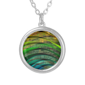 t-shirts and Colorful Waves lines art design gifts Silver Plated Necklace