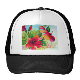 T-Shirts with Tropical Flowers Trucker Hat