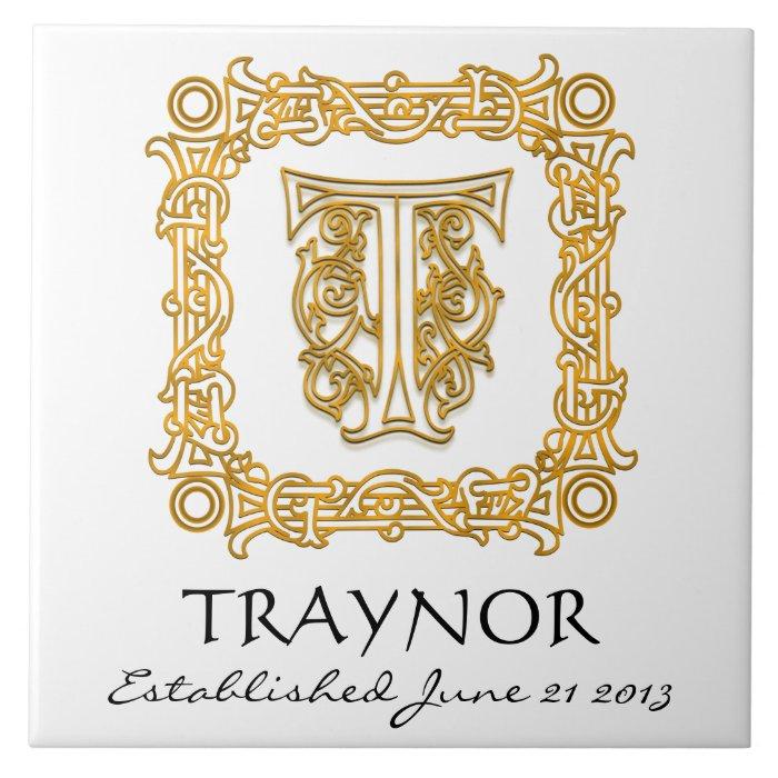 """T"" Surname Wedding Anniversary Day Monogram Tile"