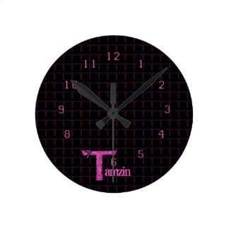 T - The Falck Alphabet (Pink) Round Clock