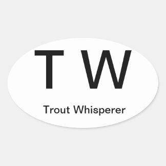T W, Whisperer de la trucha Pegatina Ovalada