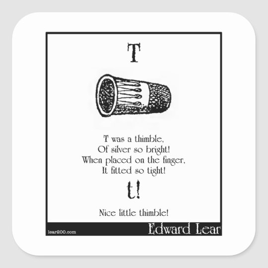 T was a thimble square sticker