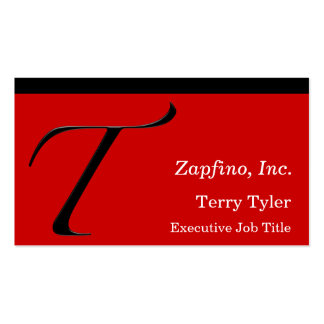 T - Zapfino Initial on Red Business Cards
