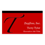 T - Zapfino Initial on Red Double-Sided Standard Business Cards (Pack Of 100)