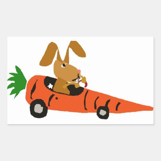 TA conejo de conejito divertido que conduce el Pegatina Rectangular