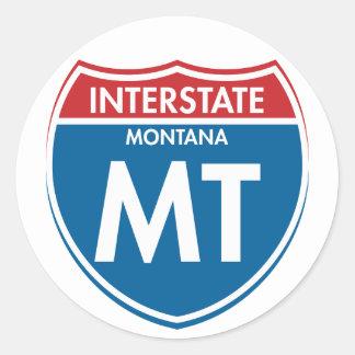 TA de un estado a otro de Montana Pegatina Redonda