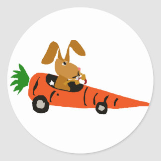 TA- Funny Bunny Rabbit Driving Carrot Car Cartoon Classic Round Sticker