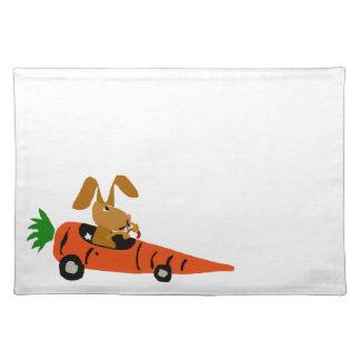 TA- Funny Bunny Rabbit Driving Carrot Car Cartoon Cloth Placemat