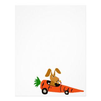 TA- Funny Bunny Rabbit Driving Carrot Car Cartoon Customized Letterhead