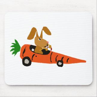 TA- Funny Bunny Rabbit Driving Carrot Car Cartoon Mouse Pad