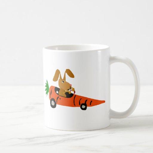 TA- Funny Bunny Rabbit Driving Carrot Car Cartoon Classic White Coffee Mug