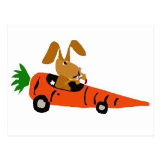 TA- Funny Bunny Rabbit Driving Carrot Car Cartoon Postcard