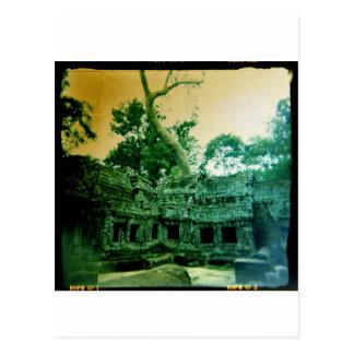 ta prohm temple near angkor wat postcard