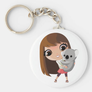 Taara and Pudding the Koala Basic Round Button Keychain