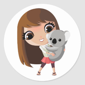 Taara and Pudding the Koala Round Sticker