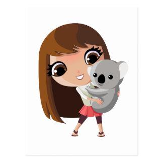 Taara y pudín la koala tarjeta postal