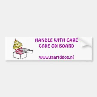 taartdoos logo, Voorzichtige rijderTaart aan bo... Car Bumper Sticker